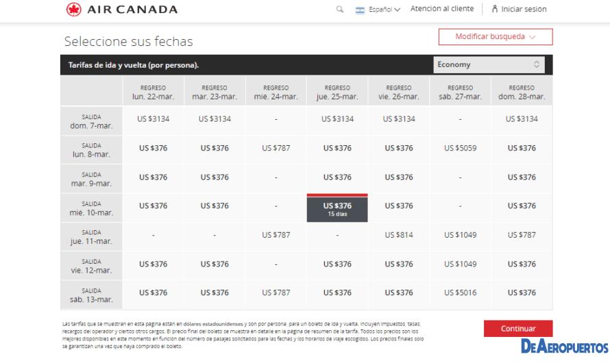 Air Canadá muestra vuelos a varios destinos de Europa a partir de u$s 376.