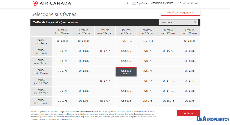 Error Fare Air Canadá